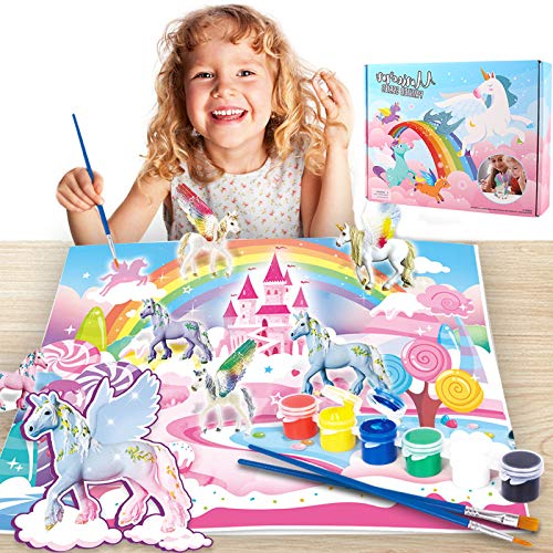 Herefun 58pcs Unicornio para Pintar DIY Kit, Unicornio Regalo Kit Pintura y Accesorios completar, Pintar Unicornio Pinceles Colores y Gemas, Pintar Juegos para Niñas Cumpleaños y Fiestas (Blanco)