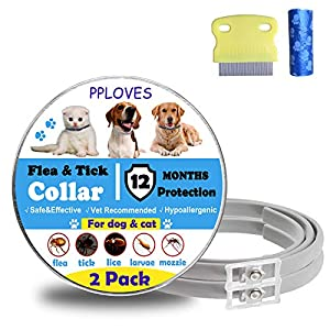 PPLOVES Flea and Tick for Dog,2 Pack for 12 Months Protection,Waterproof and Adjustable Design,Extracted from Plants,Include Comb and Dog Poop Bags