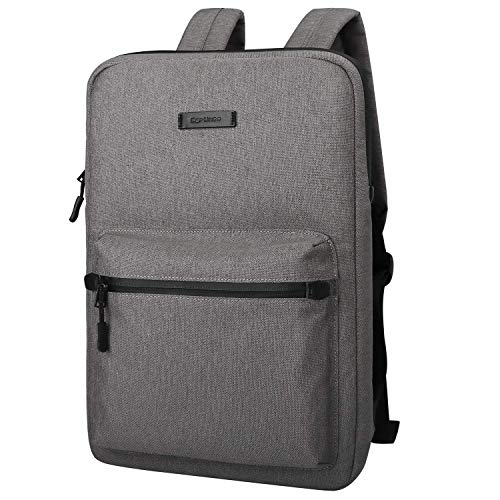 Ultra-Thin Laptop Backpack, Cartinoe Canvas Lightweight Backpack, Water Resistant College School Student Daypack for Teens Boys Girls Computer Carrying Sleeve Bag fits 13 14 15 inch Macbook, Gray