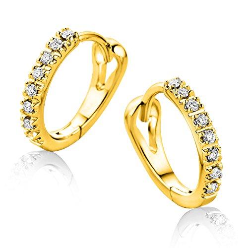 Orovi Ohrringe für Damen Ohr-Schmuck Gelbgold 9 Karat/ 375 Gold Creolen mit Diamant Brillanten 0.10 ct