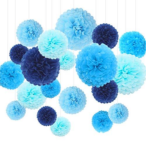 Himeland 20x Seidenpapier Pompons Set,Tissue Hängedekoration (in Royalblau Blau HeBabyblau Hellblau) für Baby Shower/Hochzeit/Kindergeburtstag/Party