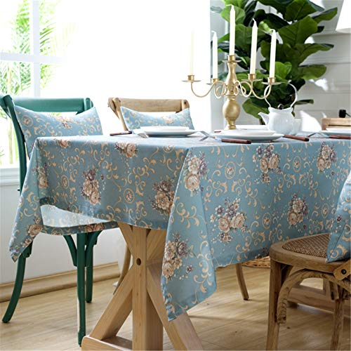 SJXCDZ Rectangle Decorative Table Cover, A bouquet of flowers on a blue background Washable Picnic Cloth