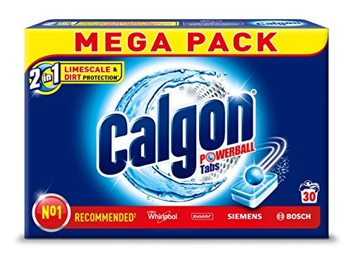 Calgon 2in1 Tabs,Wasserenthärter gegen Kalk&Schmutz in der Waschmaschine,30 Stk