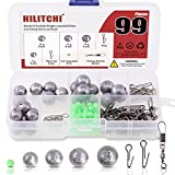 Hilitchi 99 Pcs Bullet Weights Cannonball Sinker with Fishing Barrel Swivel Connectors and Luminous Fishing Beads Assortment Kit