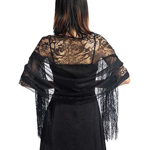 Ladiery Damen-Schal mit Blumenmuster, Spitze, mit Quasten, weiches Netzgewebe, Fransen für Hochzeit, Abendkleid, Partykleider -  Schwarz -  Einheitsgröße