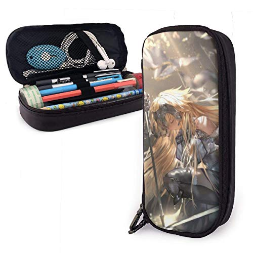 Anime Fate Grand Order Joan of Arc Leather Pencil Case Big Capacity with Zipper Large Storage Pen Pencil Pouch Box Organizer Portable Bag Holder