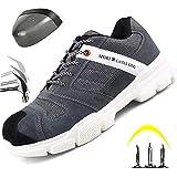 HOAPL Zapatos de Trabajo para Hombres Zapatos de Seguridad con Punta de Acero Resistentes al Desgaste Ligeros Zapatos de protección contra Desodorante Transpirables,Gris,41