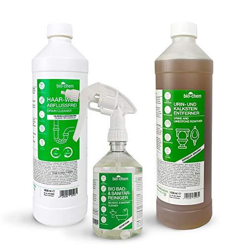 bio-chem 3-teiliges Reinigungsset - 1x Abflussreiniger, 1x Urin- und Kalksteinentferner, 1x Bad- und Sanitärreiniger - Kraftreiniger, Badreiniger, WC-Reiniger, Kalkentferner