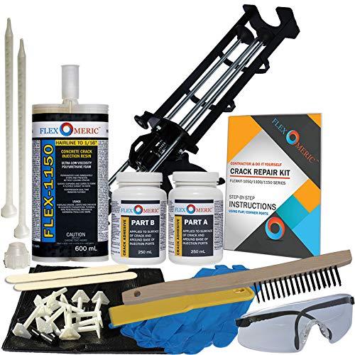 Concrete Foundation Crack Repair Kit - Ultra-Low Viscosity Polyurethane - FLEXKIT-1150-10