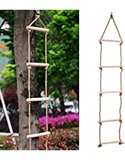 Faceuer Escalera de Cuerda de los niños, Hecha de la Escalera de Madera de los niños Que Sube, para los niños al Aire Libre de los Adultos en el Interior