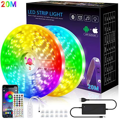 LED-Streifen, 20m Licht, Musiksynchronisation, Farbwechsel, RGB-LED-Streifen, 40-Tasten-Fernbedienung, empfindliches eingebautes Mikrofon, App-gesteuerte LED-Leuchten, 5050 RGB-LED-Lichtstreifen