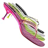 Aquapillar Lightweight High Heel Jelly Slipper - Clear Lucite Slip On Thong Sandal Hot Pink