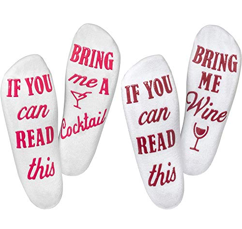 "Wine Socks (2 Pack) - ""If You Can Read This Bring Me A Glass Of Wine"" Bonus ""Cocktail"" Pair, Luxury Cotton - Perfect Mothers Day Gift, Birthday, Valentines Day Or Housewarming Funny Gift For Women"