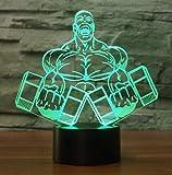 Hantel Muskelmann Form 3D Nachtlicht Schlafzimmer Tischlampe Visuelle Led Bodybuilding Decor Schlaf...