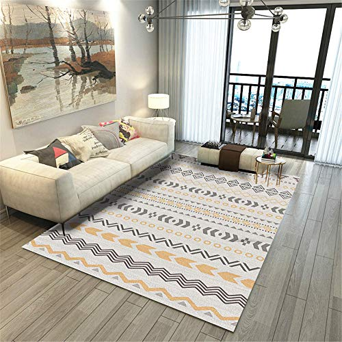 RUGMRZ Bedroom Carpets yellow Carpet living room yellow gray geometric striped pattern anti-dirty carpet durable Baby Carpet For Crawling 160X230CM Chair Mat Carpet 5ft 3''X7ft 6.6''
