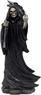 Evil Grim Reaper Flipping The Middle Finger Statuette with Dragon Head Scythe for Scary Halloween Decorations and Horror Movie Gothic Décor Figurines or Fun Gag Gifts for Man Cave