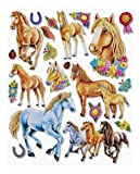 Stickerkoenig Wandtattoo 3D Sticker Wandsticker Kinderzimmer - niedliche Pferde XXL Set - Deko auch für Fenster, Schränke, Türen etc auf Bogen