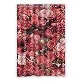 Dalliy Brauch Rosa rote Blumen Wasserdicht Polyester Shower Curtain Duschvorhang 120cm x 183cm