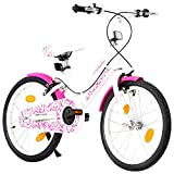 Autoshoppingcenter Bicicletta per Bambine 5-7 Anni con Ruote da 18 Pollici con Pedali Freni Anteriori e Posteriori Luci Manubrio Sella Regolabile[EU Stock]