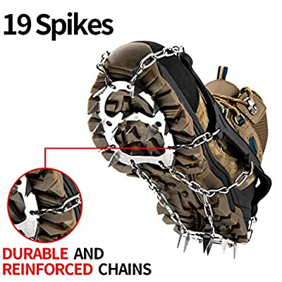 Upgraded Traction Cleats Ice Snow Grips with 19 Spikes Crampons - True Stainless Steel and Durable Silicone, Boots for Walking, Jogging, Climbing, Hiking On Ice & Snow Ground, Mountain (XL)