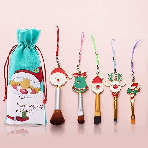 Juego de brochas de maquillaje con diseño de hadas, mini herramientas de maquillaje con mango de dibujos animados de Navidad, regalo de Navidad