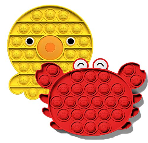 Push Pop Pop Bubble Sensory Fidget Toys 2 Pack, Silicone Squeeze Sensory Toys - Autism ADHA Special Needs Anxiety Stress Reliever & Bubble Game Playing Pad for Kids Adults(Yellow Octopus+Red Crab)