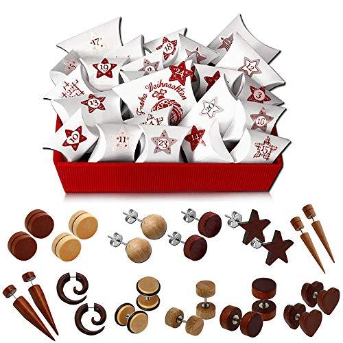 Schmuck Advents-Kalender 12 Stk. Ohrstecker Fake-Plug Holz Kinder Unisex Tumundo Ohrringe Armband Weihnachts-Kalender, Variante:Holzschmuck