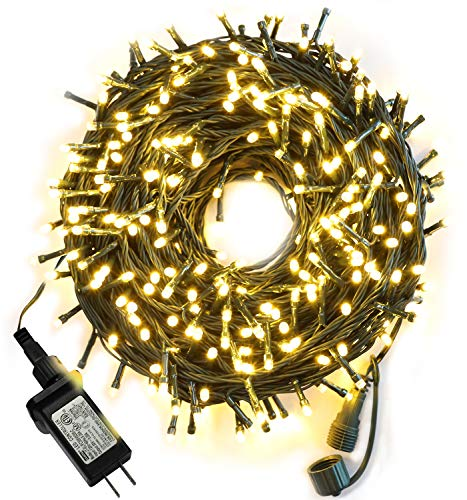 105ft 300 LED Christmas String Lights, End-to-End Plug 8 Modes Christmas Lights - UL Certified - Outdoor Indoor Fairy Lights Christmas Tree, Patio, Garden, Party, Wedding, Holiday, Warm White