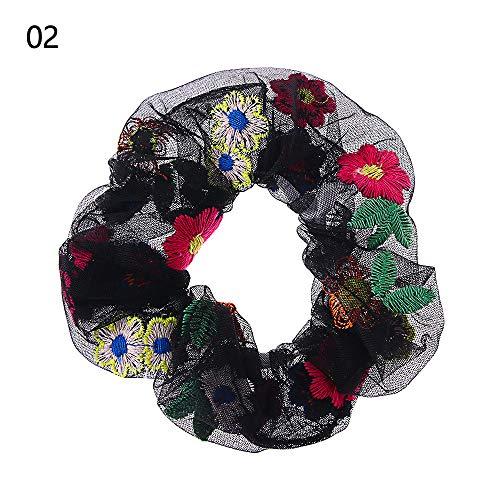 1 fil à broder transparent coréen, chic, coloré, broderie, fleur, filet, élastique, pour cheveux pour femme, Noir