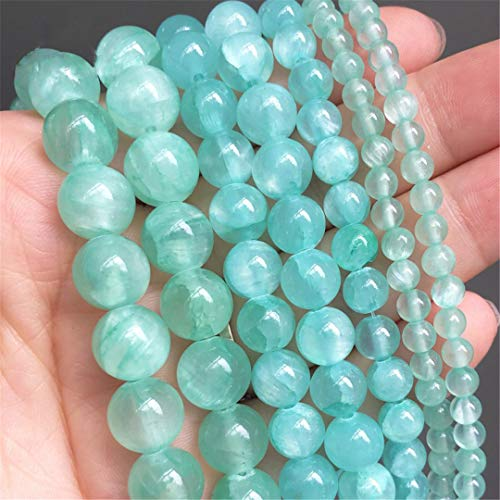 Natural Stone Beads Round Cyan Jades Loose Spacer Beads For Jewelry Making DIY Charms Bracelet Ear Studs 15 Inch 4/6/8/10 Mm 6mm (approx 61pcs)