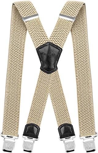 Decalen Hosenträger für Herren Breit 4 cm mit sehr Starken 4 Metall Clip Lang Einheitsgröße für Männer und Damen Einstellbar und Elastisch X Style (Hellbeige)