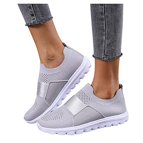 Dasongff Damen Sportschuhe Slip On Laufschuhe Gewebte Atmungsaktive Mesh Turnschuhe Profilsohle Sneakers Leichte Sneakers Bequem Schuhe Freizeitschuhe Anti-Rutsch-Schuhe Outdoorschuhe