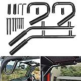 AUTOSAVER88 Grab Handle Jeep Black Front & Rear Steel Roll Bar Kit Compatible with Jeep Wrangler 2007 2008 2009 2010 2011 2012 2013 2014 2015 2016 2017 2018 JK JKU