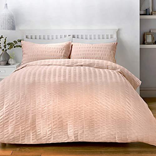 Serene - Seersucker – Parure de lit Facile d'entretien – pour lit Simple en Rose poudré