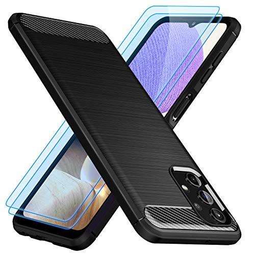TesRank Funda para Samsung Galaxy A32 5G y [2 Pack] Cristal Templado Protector de Pantalla, Carcasa Silicona TPU para Samsung Galaxy A32 5G Protector Funda Móvil Ultrafina-Negro