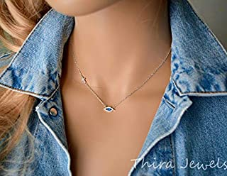 Evil Eye Necklace blue with cubic zirconia and cross in sterling silver
