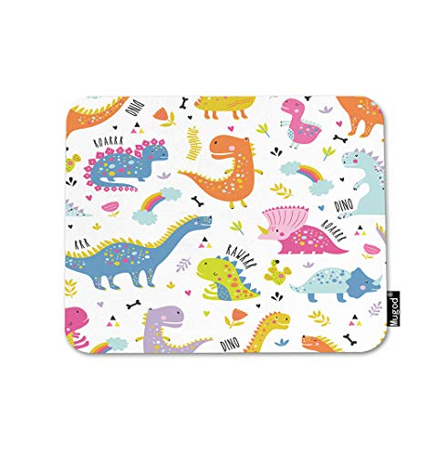 Mugod Dinosaurs Mouse Pad Cute Funny Kids Dino Colorful Rainbow Flower Cactus Gaming Mouse Mat Non-Slip Rubber Base Mousepad for Computer Laptop PC Desk Office&Home Working 9.5x7.9 Inch