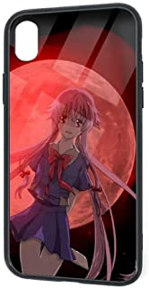 Compatible with iPhone XR, Future Diary Gasai Yuno Death Battle Red Moon Graphics Pretty Soft TPU Tempered Glass Thin Cover Case, Shock-Absorption 360 Protective Case for iPhone XR 6.1 Inch (2018)
