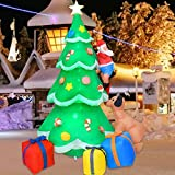 Muñeco inflable de árbol de Navidad de 2 m, decoración de cachorro de Papá Noel con luces LED brillantes, grandes decoraciones de patio al aire libre para jardín de interior y exterior,jardín familiar