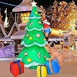 Muñeco inflable de árbol de Navidad de 2 m, decoración de cachorro de Papá Noel con luces LED brilla...