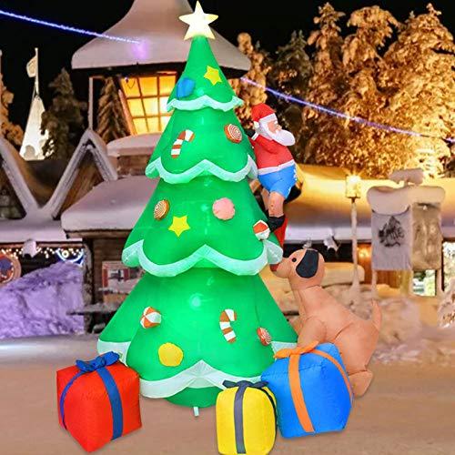 Muñeco inflable de árbol de Navidad de 2 m, decoración de cachorro de Papá Noel con luces LED brillantes, grandes decoraciones de patio al aire libre para jardín de interior y exterior,jardín familiar