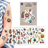 Süßes Tattoo Kinder Set, 5 Bögen Tattoos für Kinder im Motiv-Mix Naturkinder, Kinder Tattoo Mädchen, Kinder Tattoo Jungen, Mitgebsel Kindergeburtstag, Aufkleber Kinder, Mal Mich Bunt