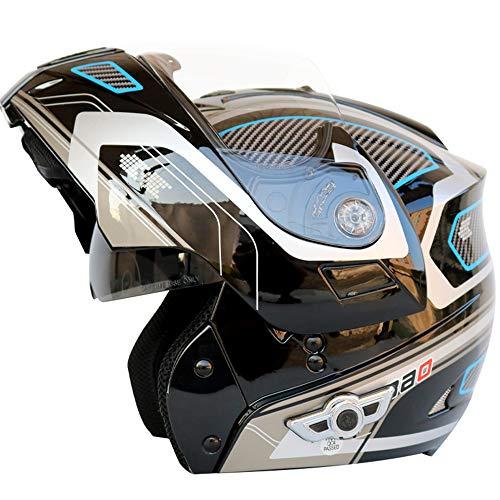Bluetooth Motorradhelm Modularer Klapphelme Integralhelm Montreal Integriert Modular Flip Up MX Helm DOT-Zertifizierung Lautsprechern Und Mikrofon ATV DH MTB,B,L(59~60CM)