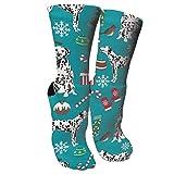 wonzhrui Calcetines Deportivos de Navidad de Perros dálmatas, Calcetines de Viaje y Vuelo, Calcetines Divertidos Impresos con Pintura.