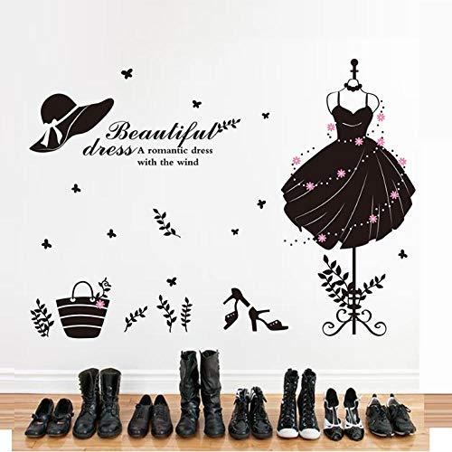 KBIASD Black Color Girl's Formal Dress Wall Sticker Vinyl DIY Wall Decor for Wardrobe Living Room Clothes Shop Decoration 10274cm