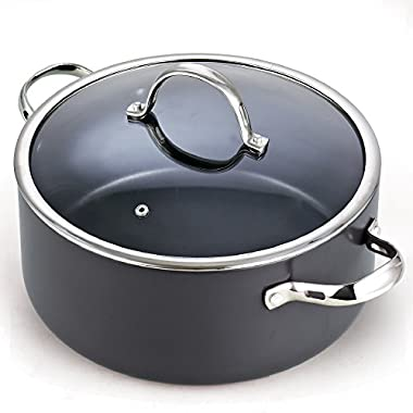 Cooks Standard 02490 Hard Anodize Nonstick Dutch Oven Casserole Stockpot with Lid, 7 quart, Black