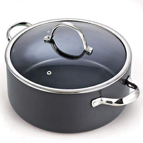 Cooks Standard Lid 7 Quart Hard Anodized Nonstick Dutch Oven Casserole Stockpot, Black