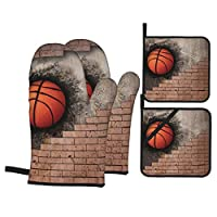 Basketball Embedded In A Brick Wall 耐熱ミトン オーブンミトン 耐熱鍋つかみ 4枚セット ,キッチン用品 キッチンミトン 耐热手袋 滑り止め 厚手 電子レンジ オーブン バーベキュー Bbq 手保護手袋 安全 厚手 クッキング用