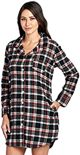 Image of Button Style Plaid Flannel Sleep Shirts for Women - More Colors Available