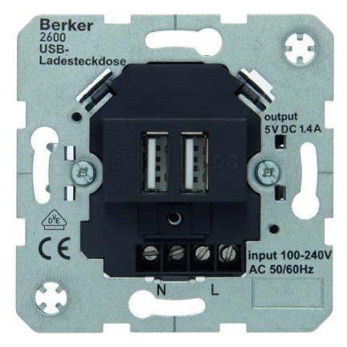 Hager–Mechanismus Steckdose USB 230V anthrazit matt